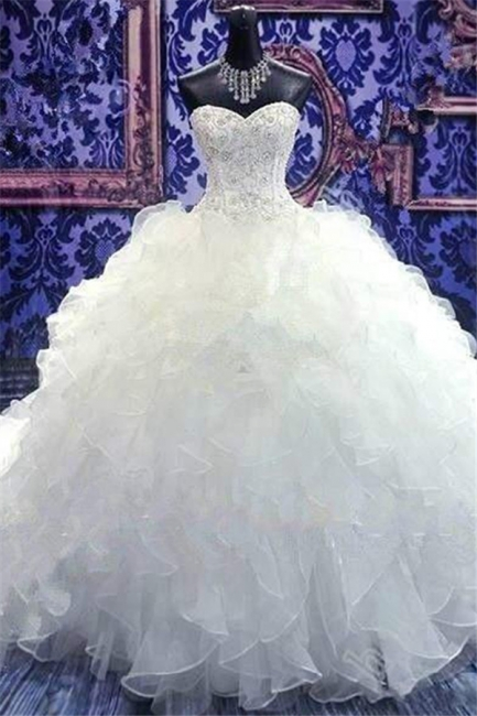 Crystal Sweetheart Ball Gown Princess Dress Latest Beadings Organza Wedding Dress