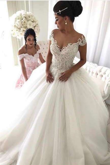 Beads Lace Royal Wedding Dresses  | Princess Ball Gown Sheer Tulle Sexy Bridal Gowns