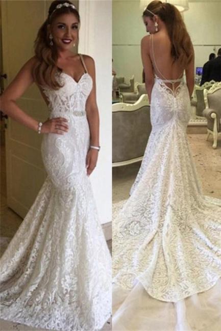 Elegant Backless Mermaid Spaghetti-Straps Lace Wedding Dresses