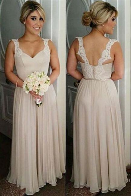 A-line Straps Floor-length Buttons Lace Bridesmaid Dresses
