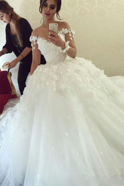 Sheer Long Sleeve Scoop  Ball Gown Wedding Dresses Flowers Tulle Bride Dress with Buttons