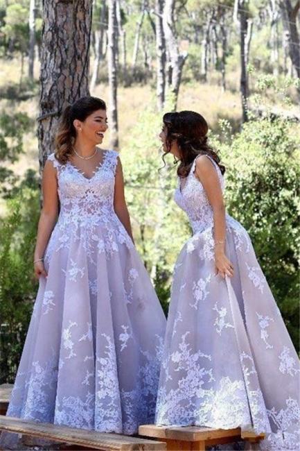 Elegant Straps Appliques Womens V-Neck Teenage A-Line Bridesmaid Dress | Suzhoudress UK