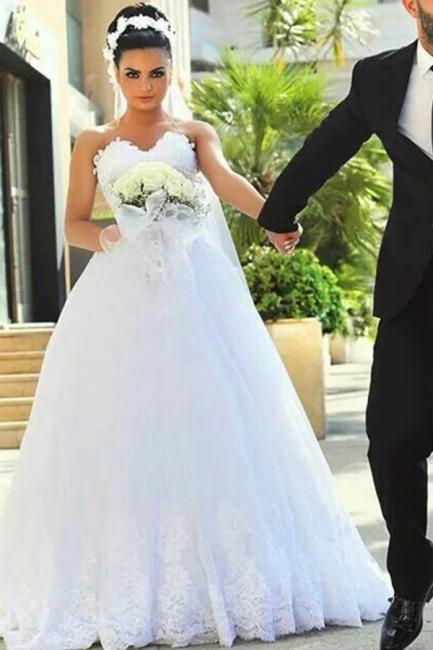 Newest A-line Sweetheart Lace  Bride Dresses  Sleeveless Sexy Wedding Dress Online BA7292