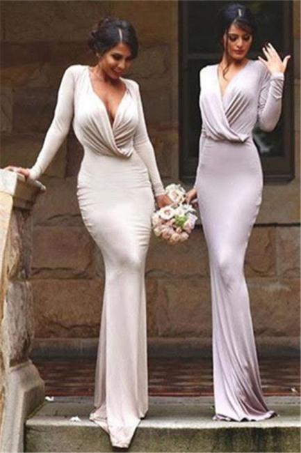 Floor Length Bodycon Evening Gowns  Long Sleeve V-neck Elegant Bridesmaid Dress