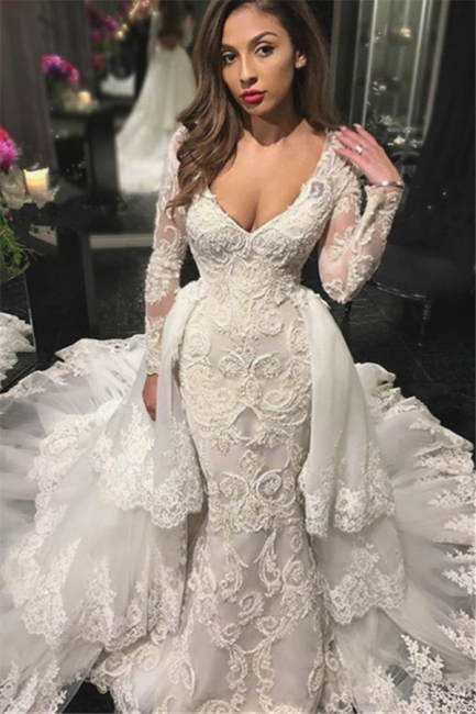 V-neck Beads Appliques Wedding Dresses with Sleeves | Mermaid Overskirt Sexy Bride Dresses