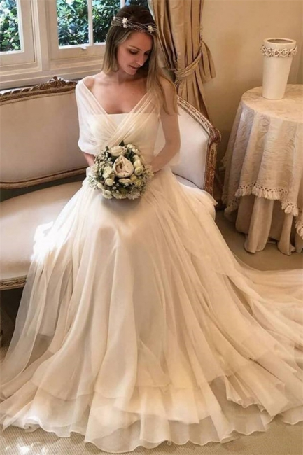 Gorgeous Applique Tiered Gorgeous Wedding Dresses   Sheer Longsleeves Backless Floral Bridal Gowns