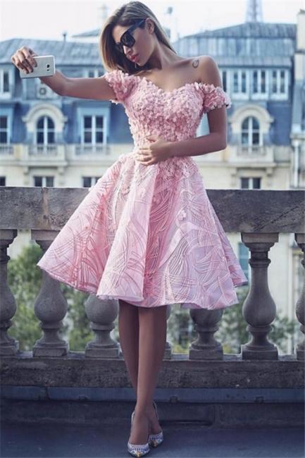 Off The Shoulder 3D Appliques  Homecoming Dress Pink Unique Luxurious Hoco Dress BA7122