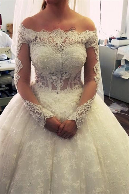 Amazing Ball-Gown Off-the-Shoulder Lace Long-Sleeves Pearls Wedding Dresses