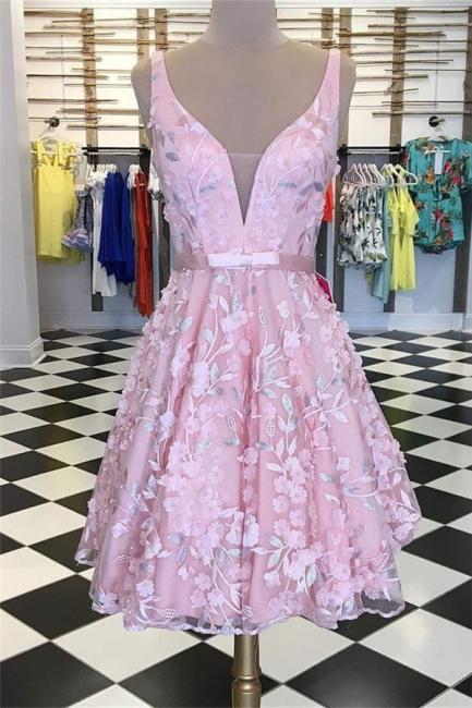 Illusion Appliques V-Neck Homecoming Dress