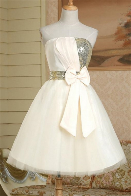 New Arrival Strapless Cute Satin Short Bridesmaid Dress Lace-Up Sequined Bowknot Mini Wedding Dress