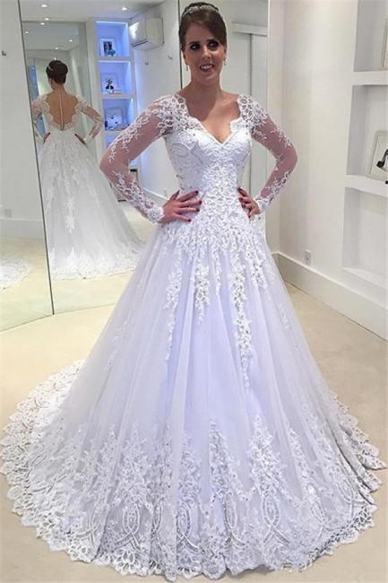 V-Neck Appliques Long-Sleeves Elegant Tulle A-Line Beadings Wedding Dress