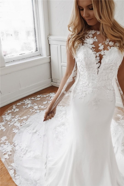 Affordable Lace Appliques Mermaid Wedding Dresses | Bridal Gowns Online