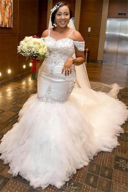 Mermaid Appliques Plus Size Bride Dress  Gorgeous Lace Cap-Sleeve Wedding Dress