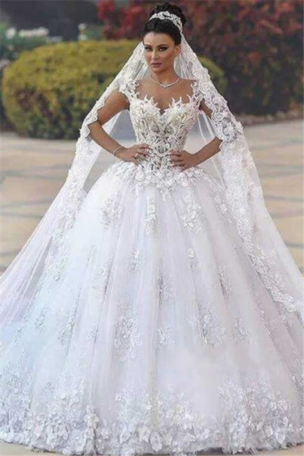 Glamorous Open Back Lace Appliques Wedding Dresses|  Bridal Ball Gowns SK0153