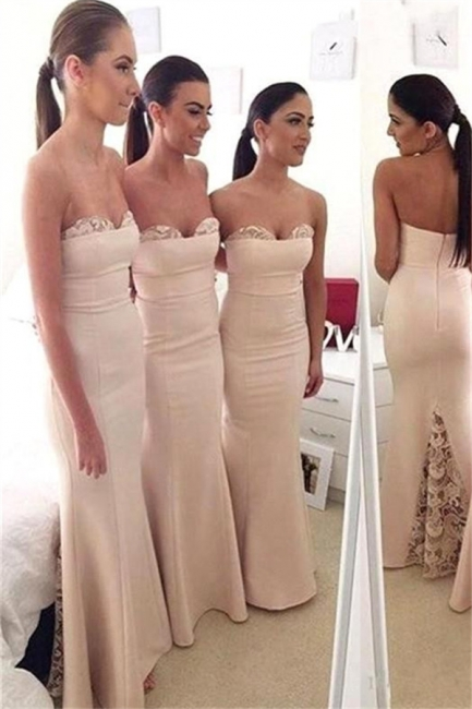 Long Mermaid Sweetheart Cheap Formal Dresses  Elegant Lace Bridesmaid Dress