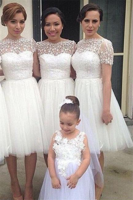Short Sleeve Knee Length Tulle Wedding Party Dress  Lace Short  Bridesmaid Dress