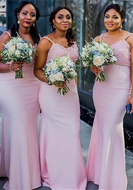 Sheath Spaghetti Straps Pink Bridesmaid Dresses |  Long Sexy Maid of Honor Dresses