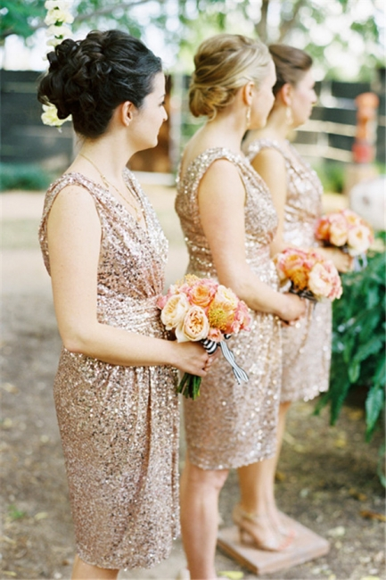Sparkly Sequined V-neck Bridesmaid Dress Sleeveless  Cocktail Party Dresses