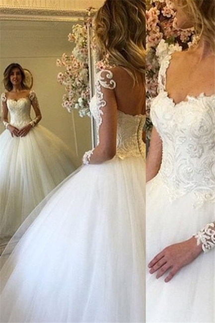 Ball Gown Lace Up Bride Dress  Long Sleeves Glam Lace Wedding Dress BA7300