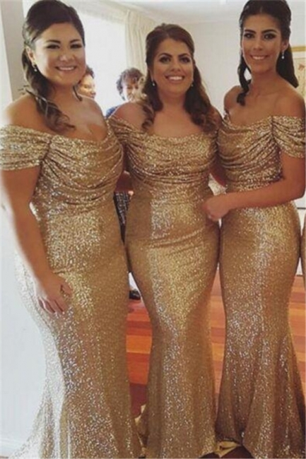 Off The Shoulder Gold Sequins Bridesmaid Dresses Mermaid  Dresses for Maid of Honor BA3186