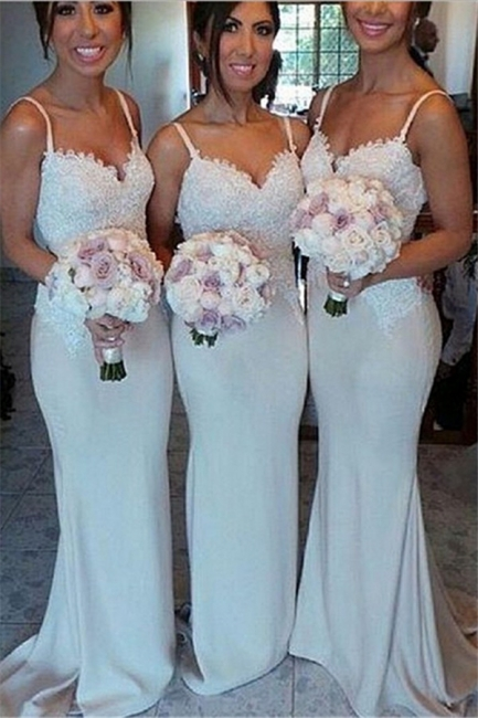 Spaghetti Strap Mermaid Floor Length Bridesmaid Dresses Open Back Lace Wedding Party Dresses BO9564