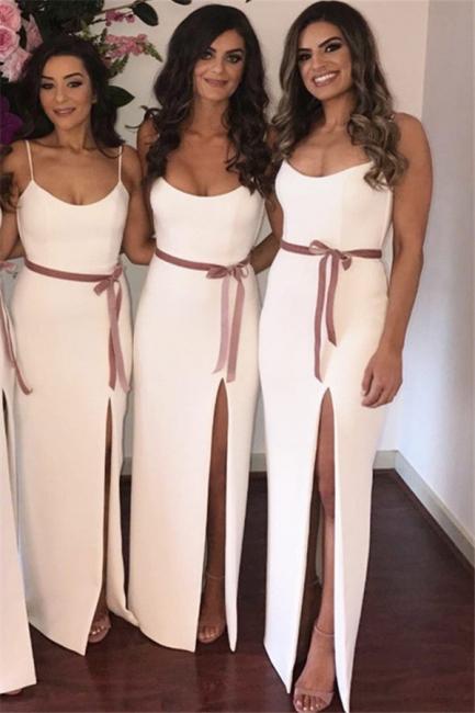 Sexy Side Slit White Bridesmaid Dresses  | Sleeveless Straps Long Wedding Party Dress with Sash