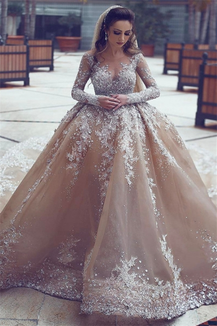 Appliques Ball-Gown Long-Sleeve Beadings Luxurious Wedding Dress
