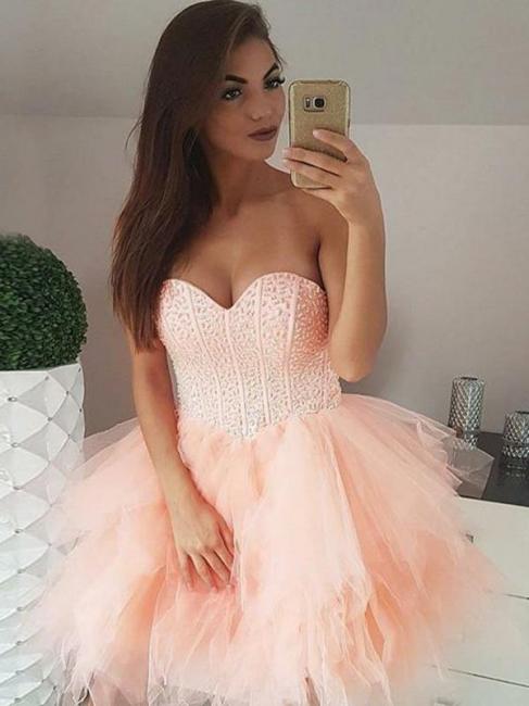 Tulle Beading Sweetheart Strapless Mini Homecoming Dress