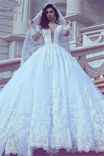Modest Lace Long-Sleeve Court-Train Ball-Gown V-neck Wedding Dress