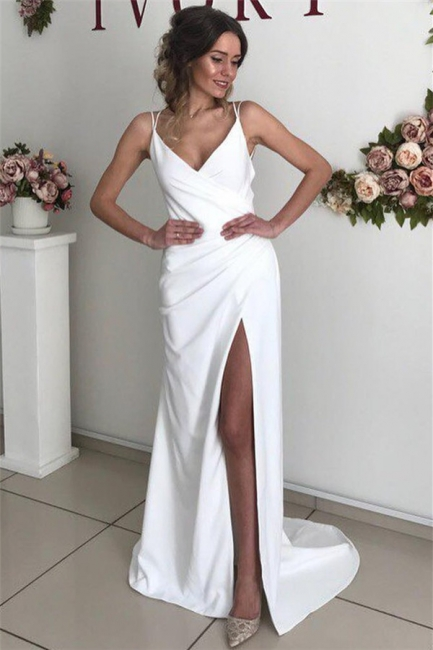 Sexy Spaghetti-Straps V-Neck White Wedding DressBackless Ruffles Bridal Gowns with Slit On Sale