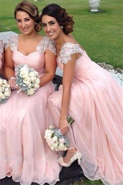 Cap Sleeves Pink Chiffon  Bridesmaid Dresses  Appliques Maid of Dresses Online
