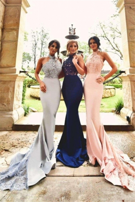 Lace Sexy Appliques Halter Neck   Open-Back Halter Bridesmaid Dresses