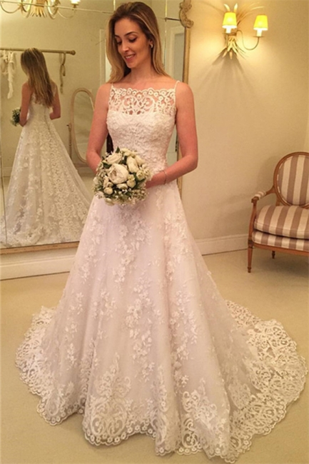 Lace Spaghetti-Straps Wedding Dress  | Sweep-Train Sleeveless Bridal Gows with Buttons
