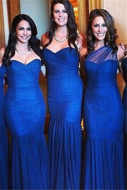 Sexy Royal Blue Mermaid Bridesmaid Dress Sleeve Ruched Plus Size Wedding Dress