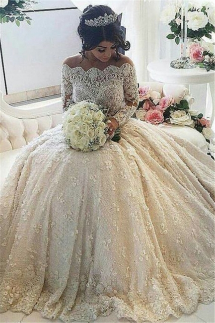 Vintage Ball Gown  Lace Wedding Gowns Beaded Appliques Long Sleeves Lace Bride Dresses BA3212