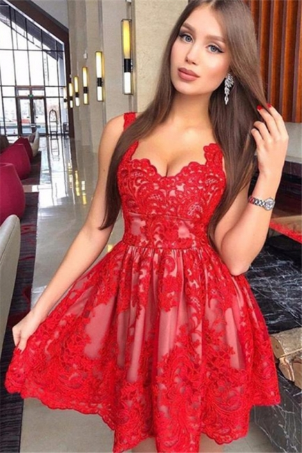 Fashion Flattering A-line Straps Appliques Elegant Lace Short Prom Dress UK on sale