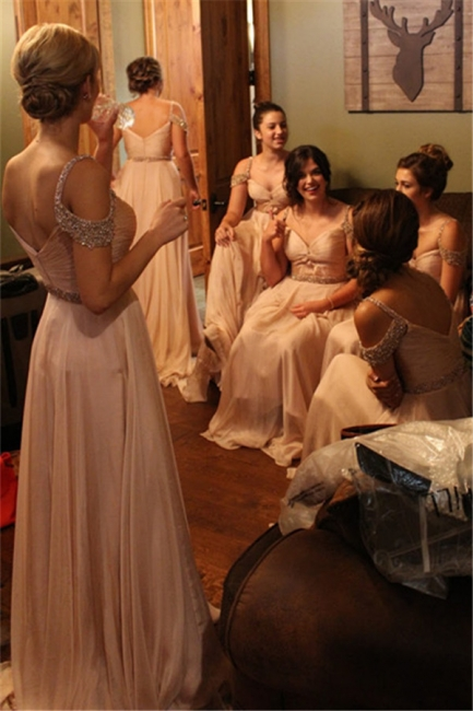 Chiffon A-line Beads Floor-length Delicate Bridesmaid Dresses Sexy  Online