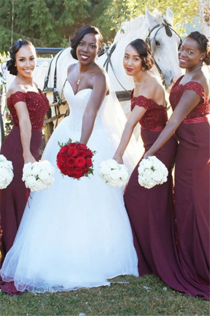 Glamorous Mermaid Lace Off-the-Shoulder Appliques Burgundy   Bridesmaid Dress