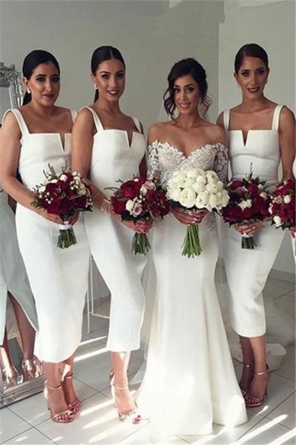 Straps White Tea Length Modest Sleeveless Bodycon Bridesmaid Dress