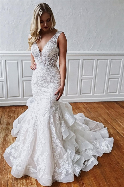 Chic Straps Ruffled Lace Mermaid Wedding Dresses | Bridal Gowns Online