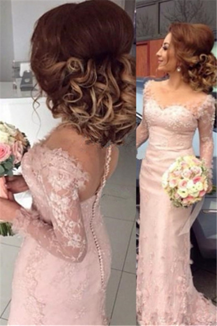 Lace Appliques Dresses for Maid of Honor Sheath Buttons Long Sleeve Sheer Pink Bridesmaid Dress BA6203