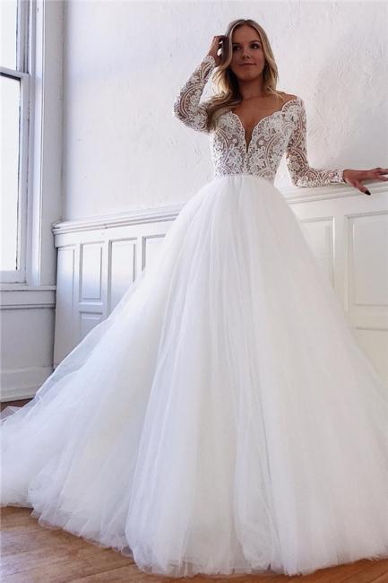 Gorgeous Lace Appliques Long-Sleeves A-Line Wedding Dresses   Bridal Gowns Online
