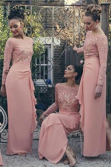 Bateau Long Sleeve Bridesmaid Dresses   Pink Chiffon Long Sexy Dress for Maid of Honor