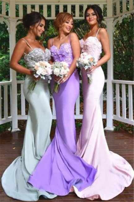 3D Floral Appliques Spaghettis Straps Formal Dress Long Elegant Mermaid Bridesmaid Dresses