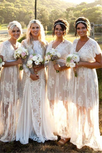 Elegant Capped-Sleeves Long V-Neck Lace Sheer Bridesmaid Dresses