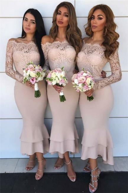 Long Sleeve Lace Bridesmaid Dresses    Short Sheath Ruffles Mermaid Formal Evening Dress