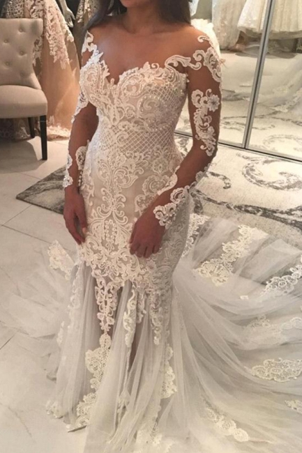 Mermaid Lace Appliques Sexy Tulle Wedding Dress | Long Sleeve Bride Dress With Long Train