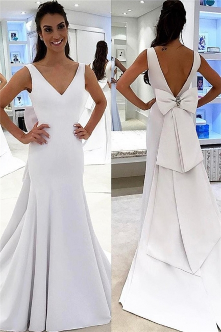 V-neck Simple A-line Wedding Dress | White Chic Backless Bridal Gowns