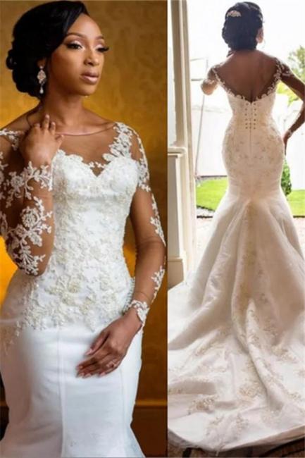 Mermaid Lace Wedding Dresses  | Open Back Long Sleeve Sexy Wedding Dresses