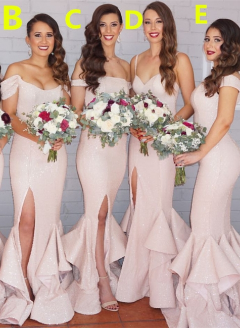 Sexy Mermaid Light Pink Bridesmaid Dresses Latest Sequined Slit Formal Dress